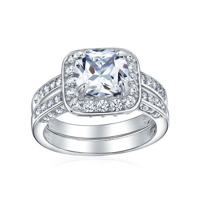 2CT Princess Cut Halo CZ Engagement Wedding Ring Set Sterling Silver