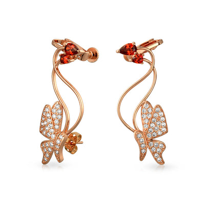 3D Wire Red Butterfly Pave CZ Ear Crawler Earrings Rose Gold Plated