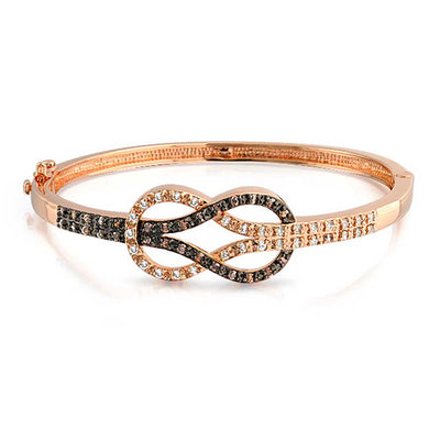 Two Tone Infinity Symbol CZ Bangle Bracelet Black Rose Gold Plated