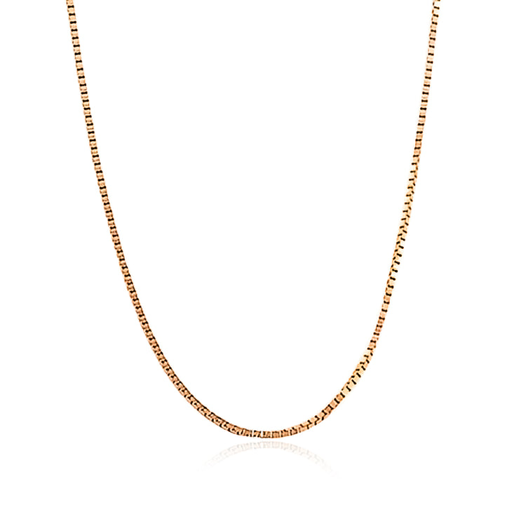 Box Chain 10 Gauge Necklace Rose Gold Plated 925 Sterling Silver