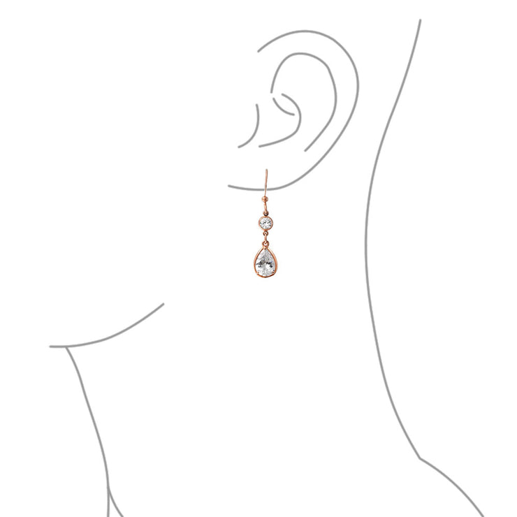 Multi Tear Drops Rose Gold Plate Brass Chain CZ Necklace Earring Set