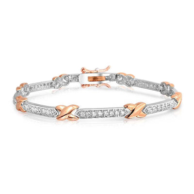 Love X Kisses CZ Bar Link Tennis Bracelet Two Tone Rose Gold Plated