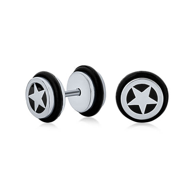 Black Star Illusion Faux Black Ear Plug Earring Surgical Steel 16G
