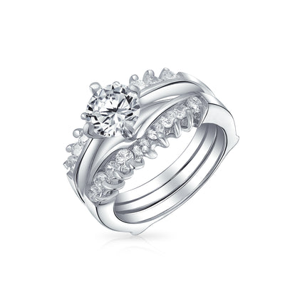 1CT Solitaire AAA CZ Inset Engagement Wedding Ring Set Sterling Silver