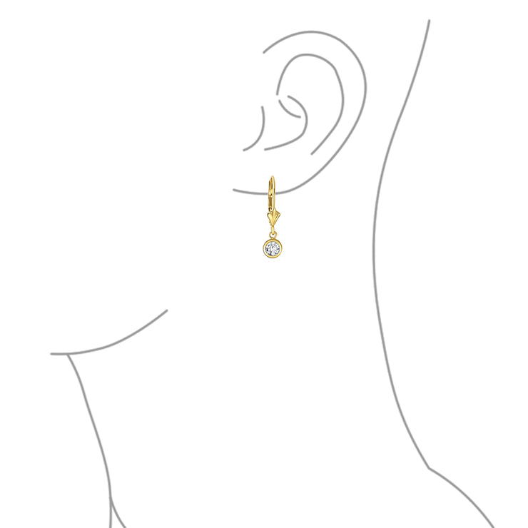 REAL 14K Yellow Gold Cubic Zirconia Bezel CZ Leverback Earrings