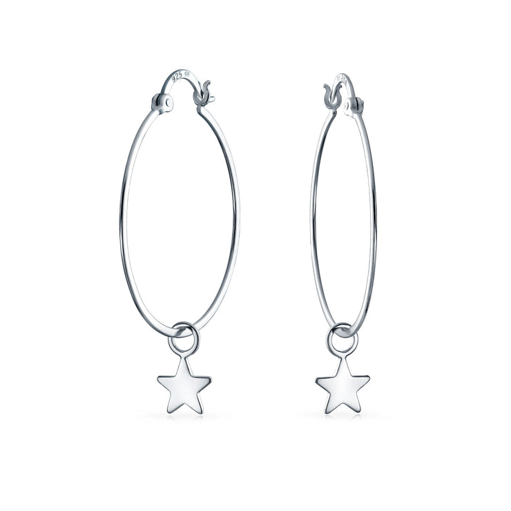 Celestial Patriotic Star Dangle Charm Hoop Earrings Sterling Silver