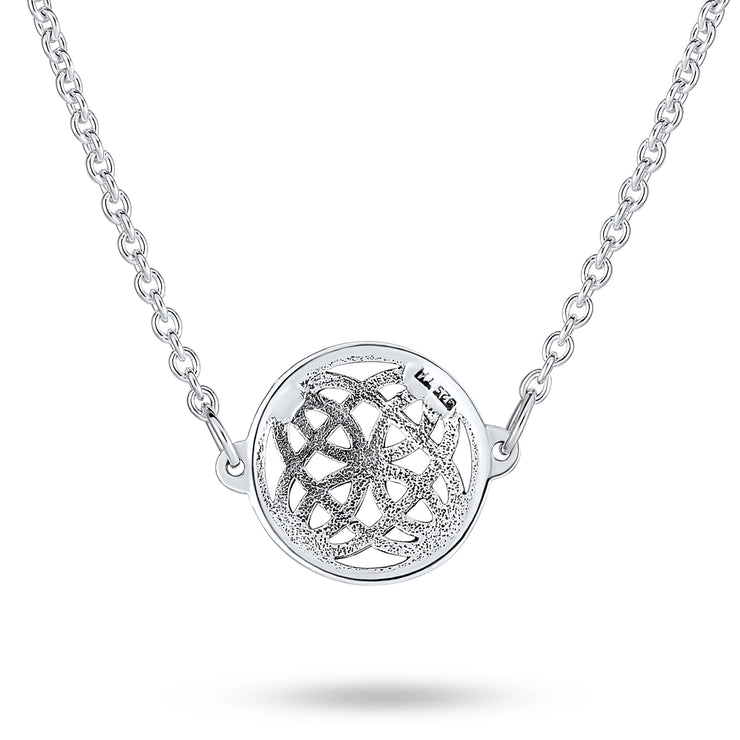Large Celtic Love Knot Round Circle Necklace Sterling Silver Pendant