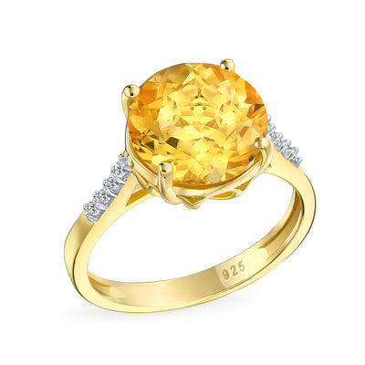 3CT Solitaire Zircon Yellow Citrine Topaz Ring 14K Gold Plate Silver