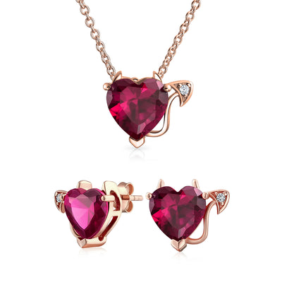 Red CZ Devil Heart Necklace Stud Earring Rose Gold Plated Sterling