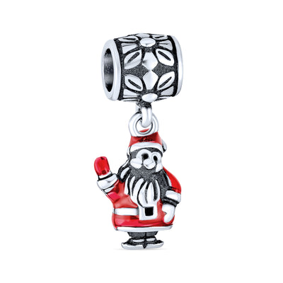 Christmas Red Santa Claus Dangle Charm Bead 925 Sterling Silver
