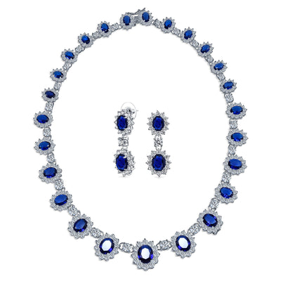 Vintage Halo Imitation Sapphire AAA CZ Statement Necklace Earrings Set