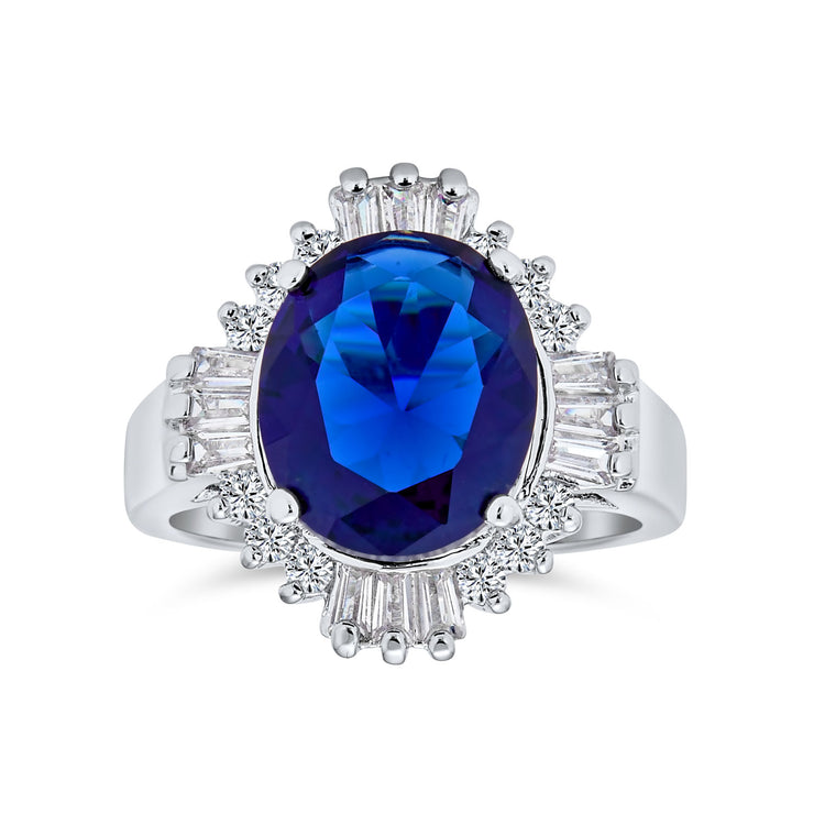 Art Deco Style Royal Blue 6CT AAA CZ Imitation Sapphire Statement Ring