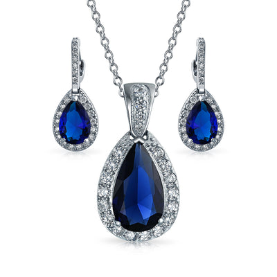 CZ Imitation Sapphire Solitaire Teardrop Pendant Necklace Earrings Set