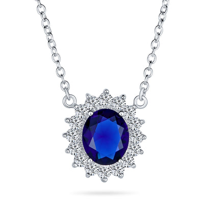 Oval Blue Pendant Necklace Imitation Sapphire CZ Halo Crown Silver