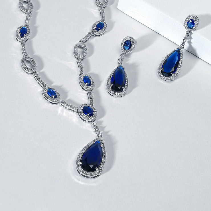 Vintage Blue Halo Imitation Sapphire CZ Y Necklace Clip-on Earrings