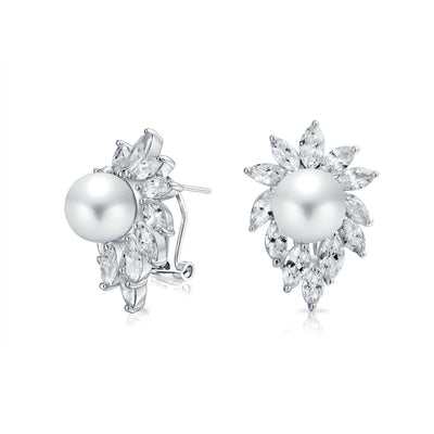 Bridal Leaf CZ White  Simulated Pearl Stud Earrings Omega Back Silver Plated