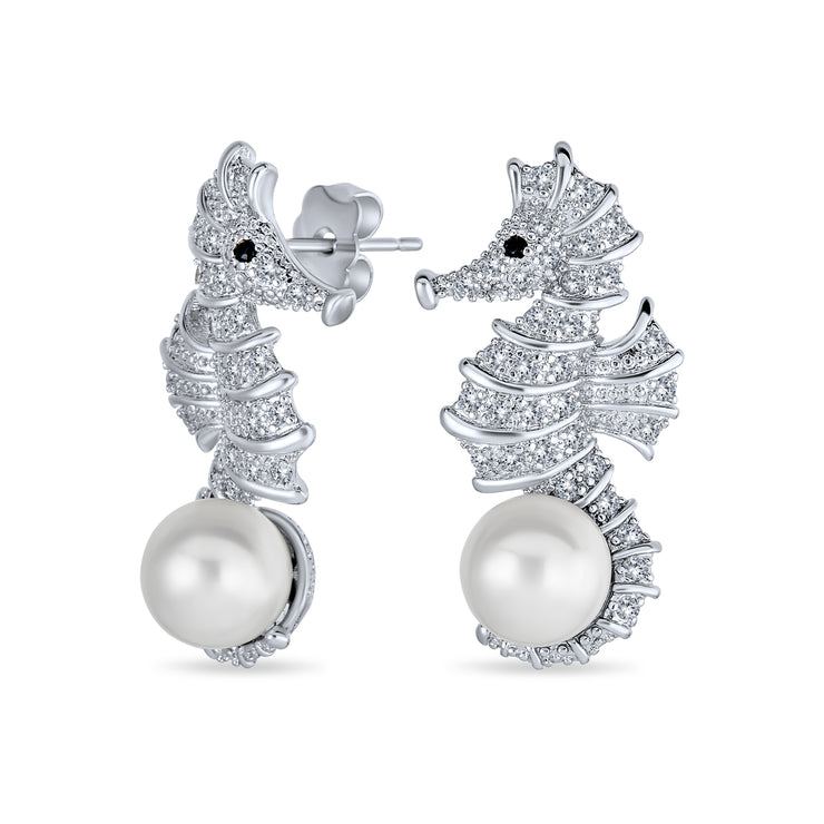 Wedding CZ Seahorse White Imitation Pearl Earrings Silver Plated Brass
