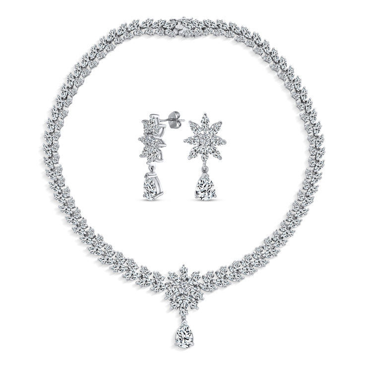 Bridal Floral AAA CZ Collar Tennis Necklace Earrings Jewelry Set