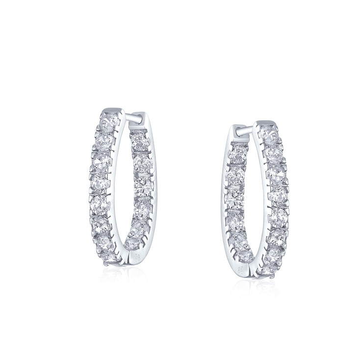 Oval shape Inside Out Channel Set CZ Hoop Earrings OF Sterling Silver