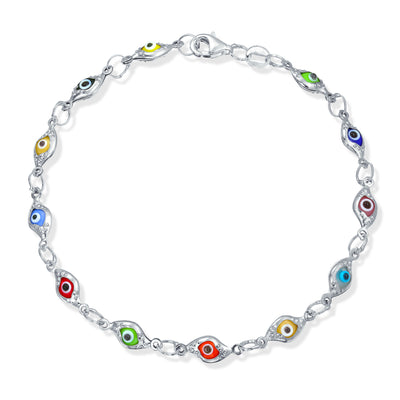 Turkish Evil Eye Glass Bead Bracelet Protection 925 Sterling Silver