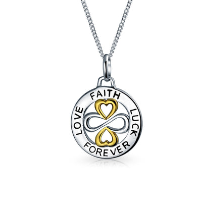 Ayllu Love Faith Luck Forever Disc BFF Pendant Necklace Two Tone