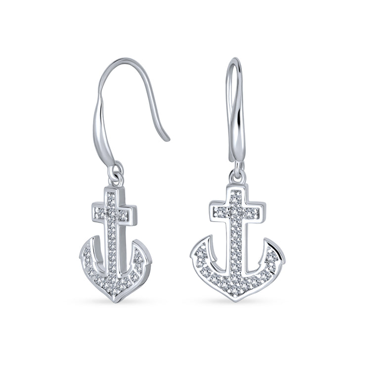 Nautical Boat Anchor Pave CZ Earrings Cubic Zirconia Sterling Silver