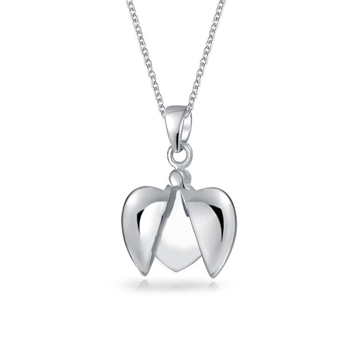 My Angel WORD Heart Angel Wing Locket Pendant Necklace Sterling Silver