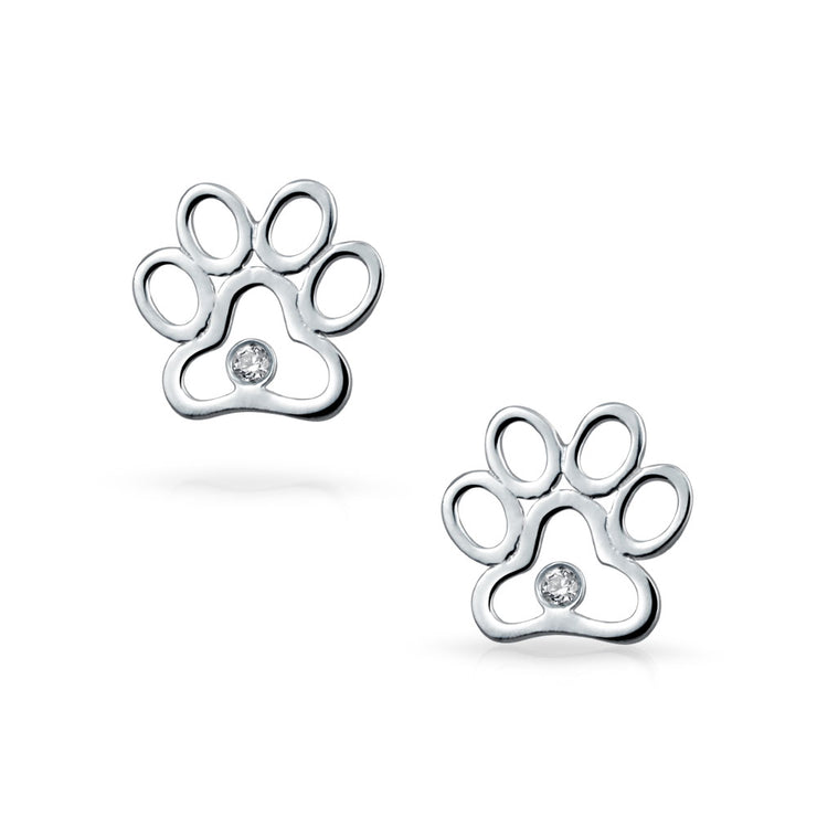 BFF Lover Pet Dog Cat Paw Print Stud Earrings Puppy Sterling Silver