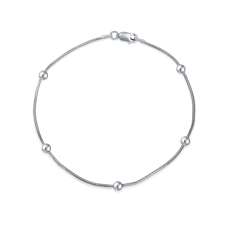 Plain Ball Bead Snake Chain Anklet Ankle Bracelet Sterling Silver