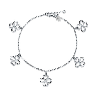 Ayllu Heart Infinity Clover Love Luck Unity Dangle Charm Anklet Silver