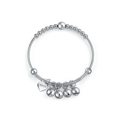 Round Ball Beaded Dangle Charm Bangle Bracelet Sterling Silver Wrists