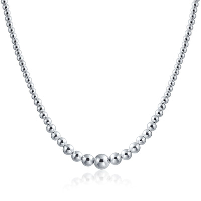 Graduated Round Ball Bead Strand Necklace Shinny High Sterling Silver