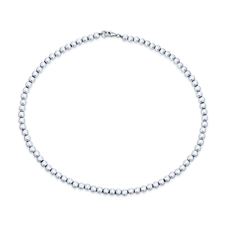 6MM High Ball Round Bead Strand Sterling Silver Necklace 16IN or 18IN