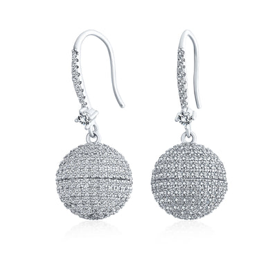 Disco Ball Drop Pave CZ Statement Prom Earrings Round Silver Plated