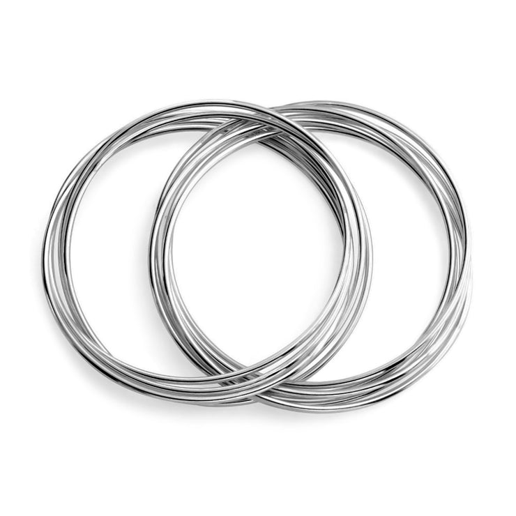 Interlocking Bangle Bracelets Set of 10 Silver Tone Stainless Steel