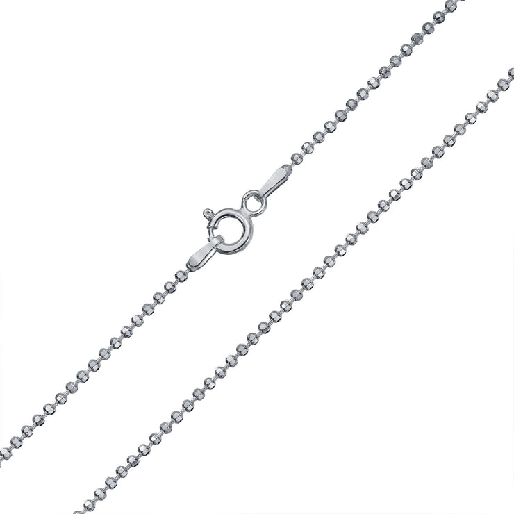 Diamond Cut Ball Bead Chain Sparkle Necklace 150 Gauge Sterling Silver