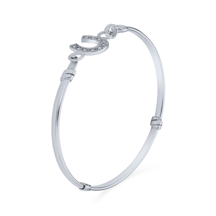 Good Luck Horseshoe Bangle Equestrian Bracelet CZ Pave Sterling Silver