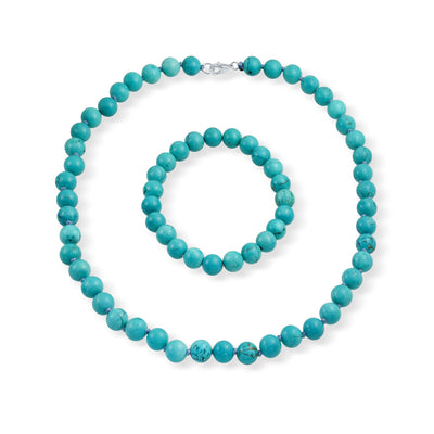 Turquoise Ball Beads Strand Necklace Bracelet Set Silver Plated
