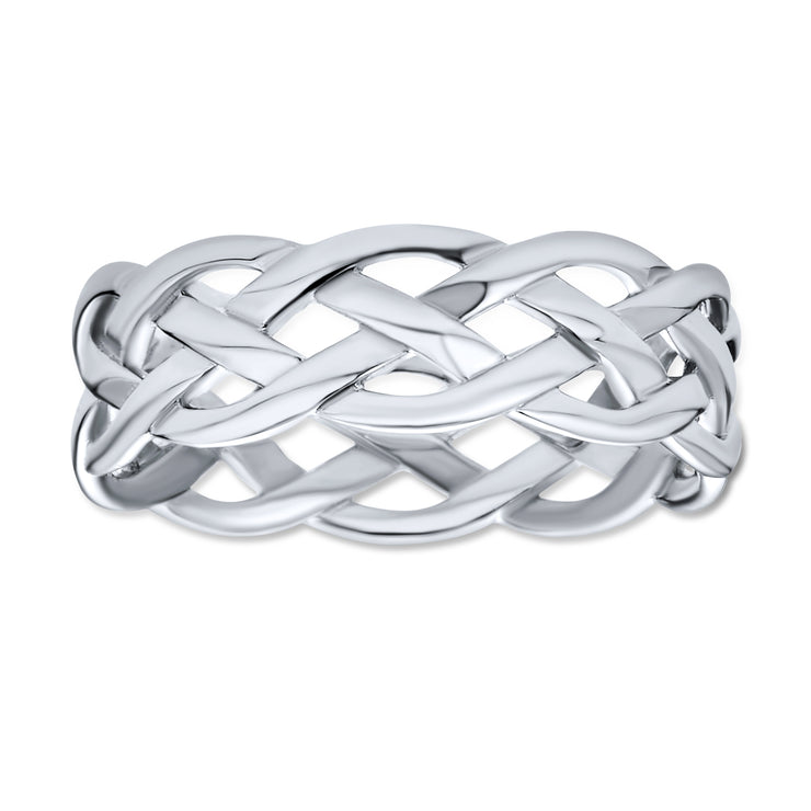 Open Wire Wheat Weave Rope Braid Cable Band Ring 925 Sterling Silver