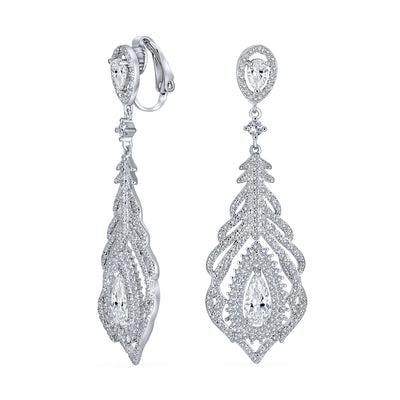 Teardrop Halo Statement Chandelier Clip On Earrings Silver Plated
