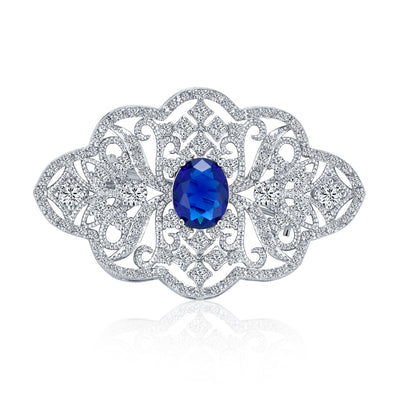 Art Deco Style Royal Blue CZ Filigree Imitation Sapphire Brooch Pin