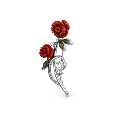 Dainty Red Roses Bouquet CZ Accent Brooch Pin For Women