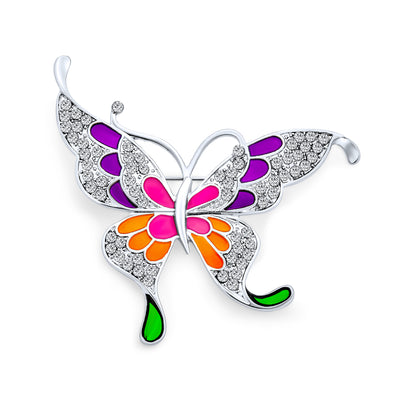 Large Butterfly Color Rainbow Enamel Crystal Brooch Pin Gold Plated