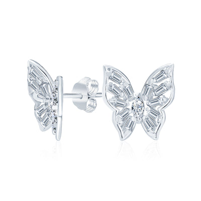 Delicate 3D Garden Fluttering Butterfly Stud Earrings Sterling Silver