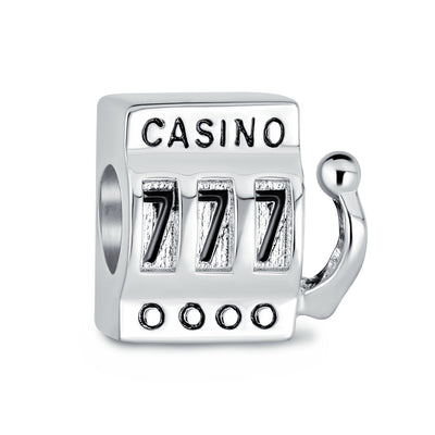 Casino Slot Machine 777 Jackpot Las Vegas Charm Bead Sterling Silver
