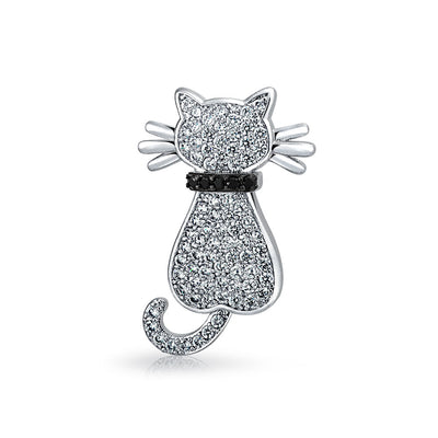 White Pave CZ Cat Kitty Kitten Pet Pave Cubic Zirconia Brooch Pin