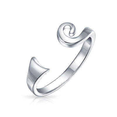 Open Celtic Spiral Midi Toe Ring For Women For Teen 925 Silver