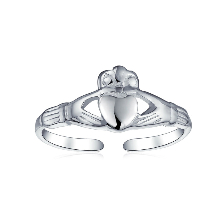 Celtic Claddagh Heart Shape Midi Toe Ring Band 925 Silver Sterling