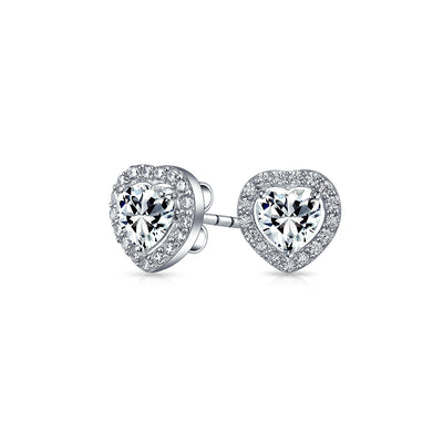 Cubic Zirconia Heart Stud Earrings Halo Set CZ 925 Sterling Silver