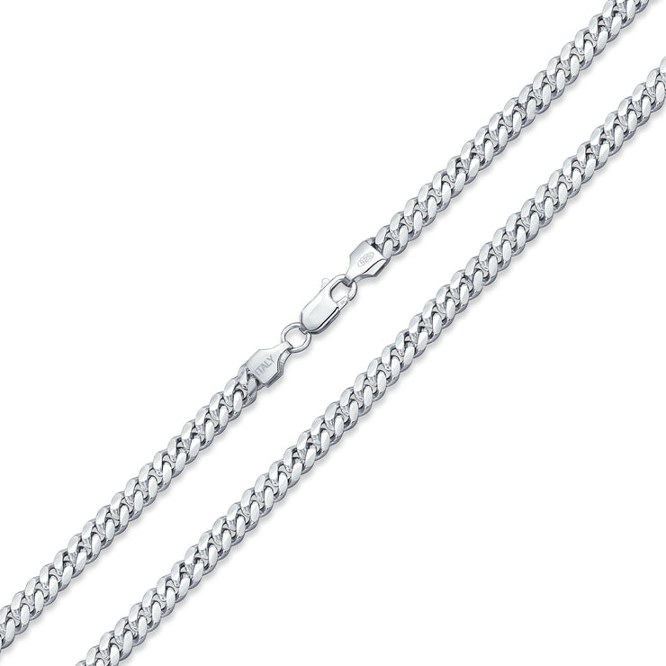 Miami Cuban Chain Sterling Silver Necklace 150 Gauge Made In Italy